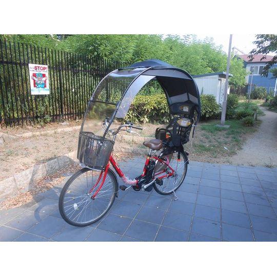 自転車の 自転車 子供 椅子 後ろ : 日よけ雨除けの子供乗せ自転車 ...
